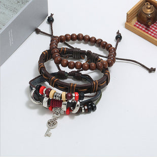 Men's Vintage Woven Cowhide Beaded Bracelet Three Piece Set