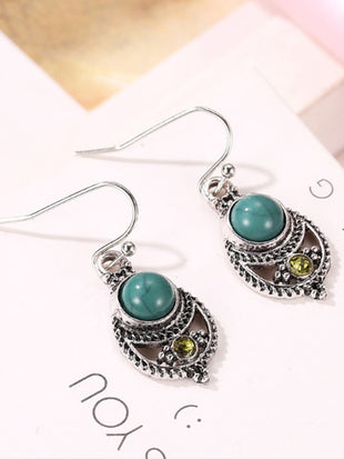 Women's Vintage Turquoise Openwork Carved Earrings