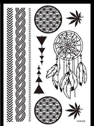 Vintage Black Lace Waterproof Tattoo Sticker