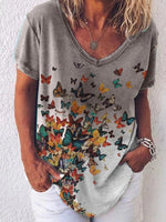 Load image into Gallery viewer, Women's Butterfly Print V-neck Gradient Short Sleeve T-shirt