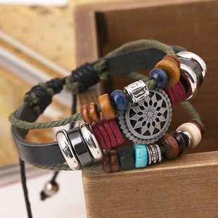 Men's Vintage Cowhide Beaded Alloy Woven Bracelet