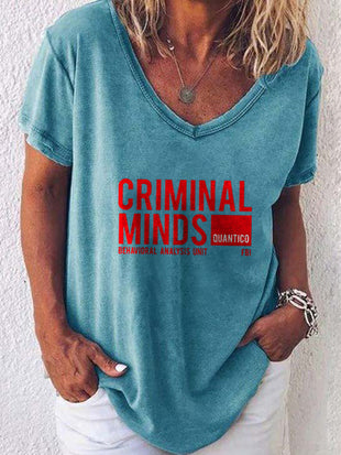 Women's Criminal Minds Behavioral Analysis Unit Printed T-shirt