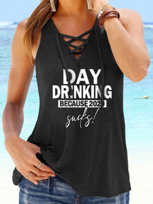 Day Drinking Because 2020 Sucks Lace Up Tank