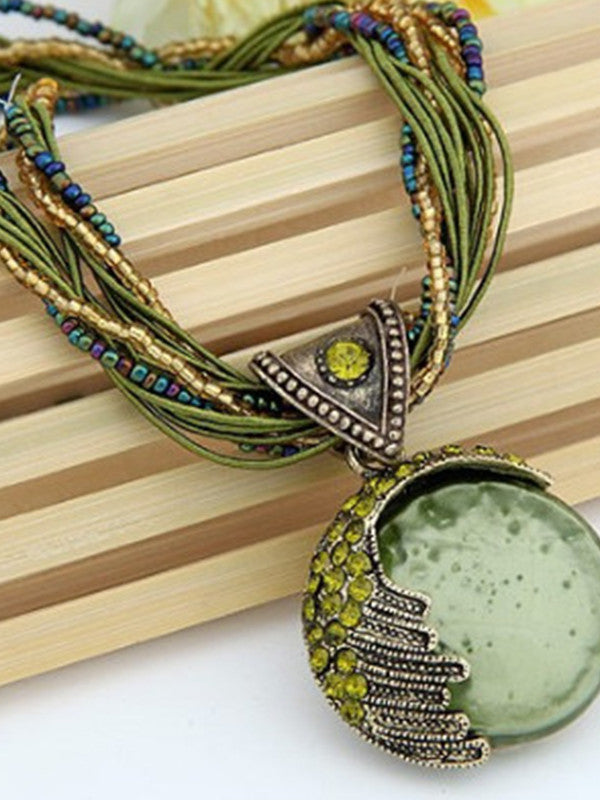 Bohemian Necklace Ethnic Style Rice Beads Weave Retro Necklace Sweater Chain