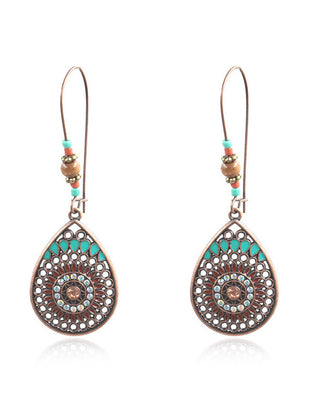 Vintage Ethnic Style Hollowed Out Drop-Shaped Earrings