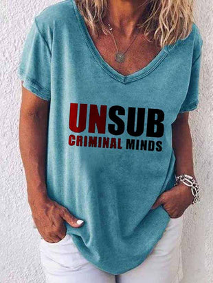 Ladies Unsub Criminal Minds Printed Casual V-Neck T-Shirt