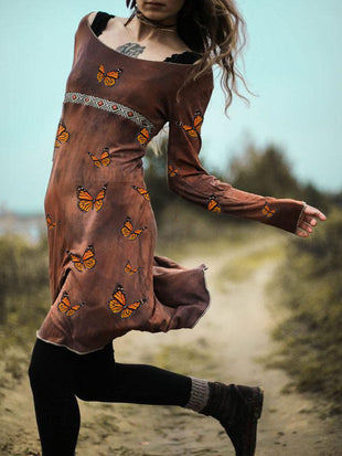 Women's Vintage Embroidered  Butterfly Print Long Sleeve Dress