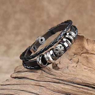 Men's cross hand-woven leather bracelet