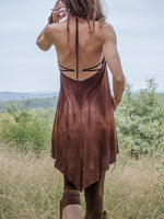 Load image into Gallery viewer, Women's Vintage Hand-Dye Backless Short Dress