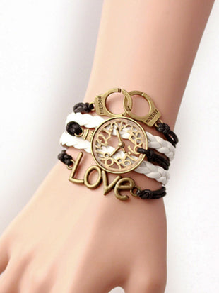 Unisex Love Woven Stitched Leather Bracelet