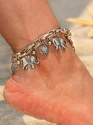 Golden Carved Elephant Peach Heart Pendant Beach Wind Anklet