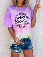 Load image into Gallery viewer, Ladies God Is Greater Than The Undulating Printed Tie-Dye T-Shirt
