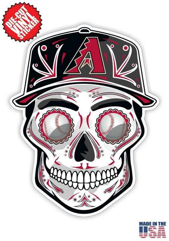 Arizona Diamondbacks Baseball - Skull Hat Die Cut Vinyl Decal - 4 Sticker Combo