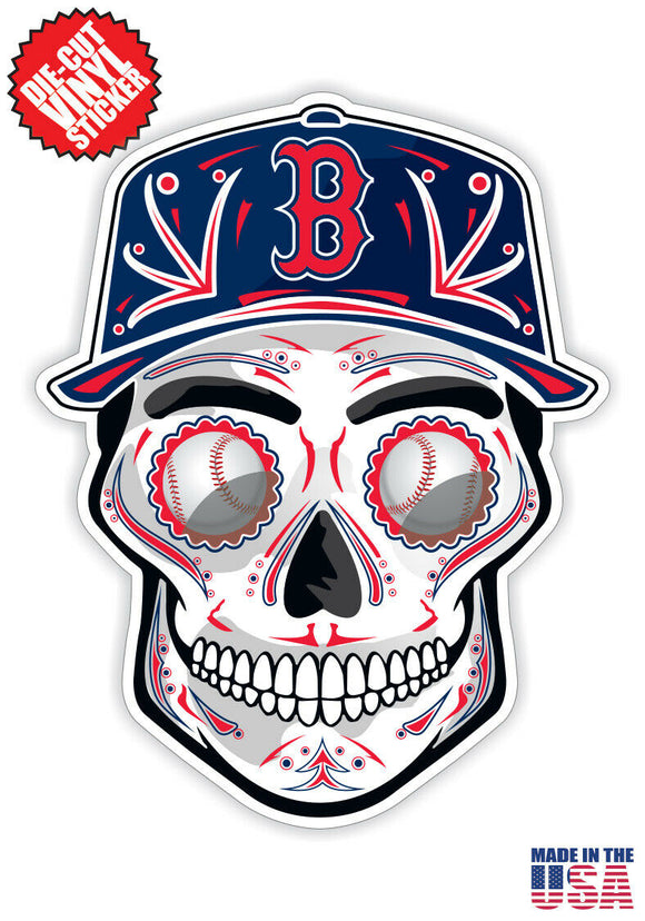 Boston Red Sox Baseball - Skull Hat Die Cut Vinyl Decal - 4 Sticker Combo Pack