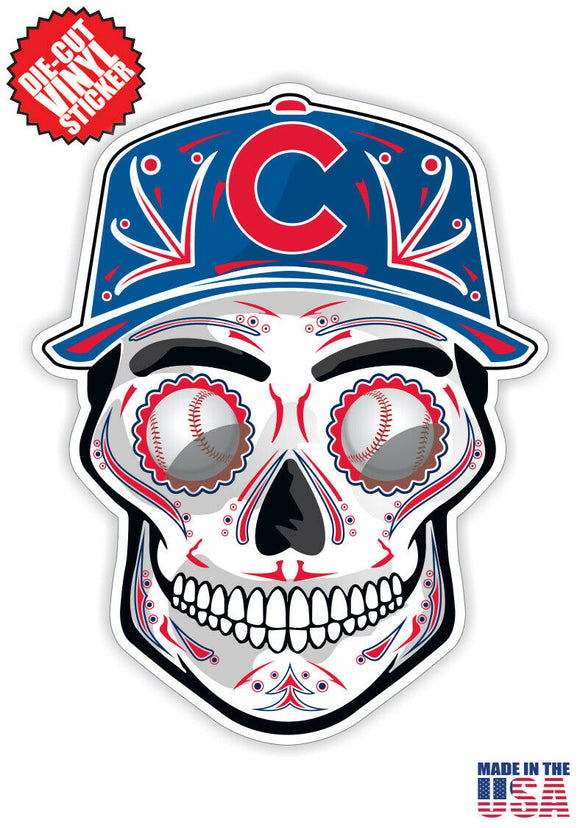 Chicago Cubs Baseball - Skull Hat Die Cut Vinyl Decal - 4 Sticker Combo Pack