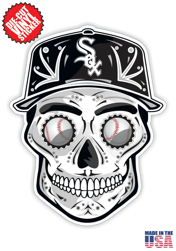 Chicago White Sox Baseball - Skull Hat Die Cut Vinyl Decal - 4 Sticker Combo