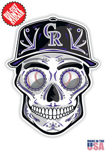 Colorado Rockies Baseball - Skull Hat Die Cut Vinyl Decal - 4 Sticker Combo Pack
