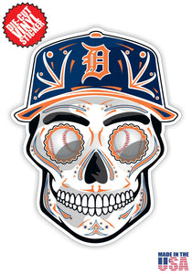 Detroit Tigers Baseball - Skull Hat Die Cut Vinyl Decal - 4 Sticker Combo Pack