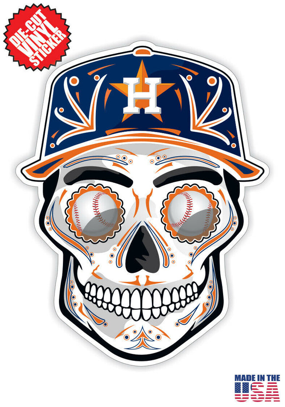 Houston Astros Baseball - Skull Hat Die Cut Vinyl Decal - 4 Sticker Combo Pack