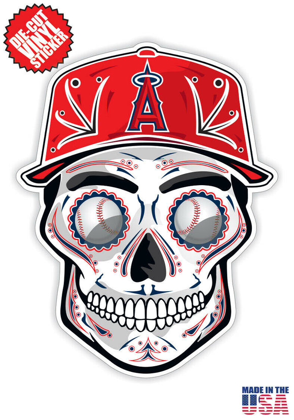 Los Angeles Angels Baseball - Skull Hat Die Cut Vinyl Decal - 4 Sticker Combo