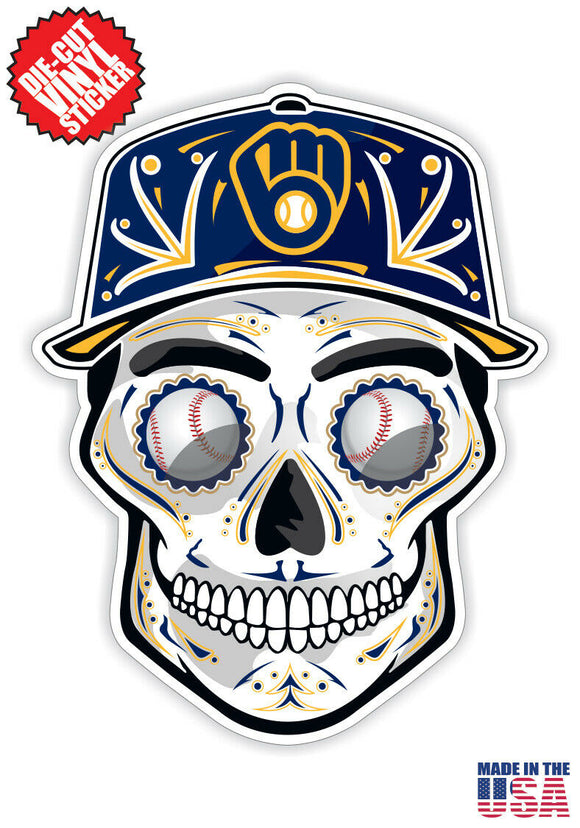 Milwaukee Brewers Baseball - Skull Hat Die Cut Vinyl Decal - 4 Sticker Combo