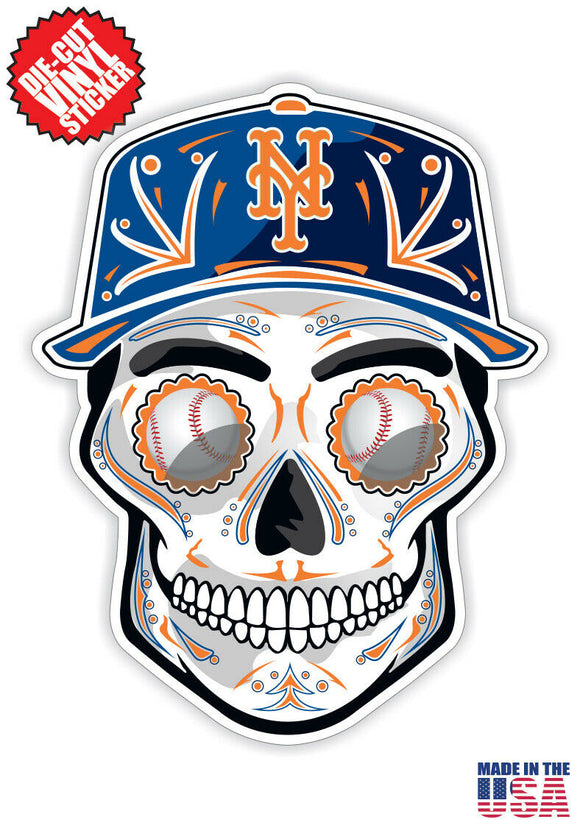 New York Mets Baseball - Skull Hat Die Cut Vinyl Decal - 4 Sticker Combo Pack