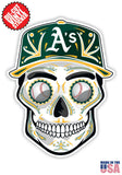Oakland Athletics Baseball Skull Hat Die Cut Vinyl Decal - 4 Sticker Combo Pack