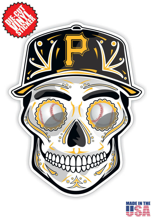 Pittsburgh Pirates Baseball - Skull Hat Die Cut Vinyl Decal - 4 Sticker Combo