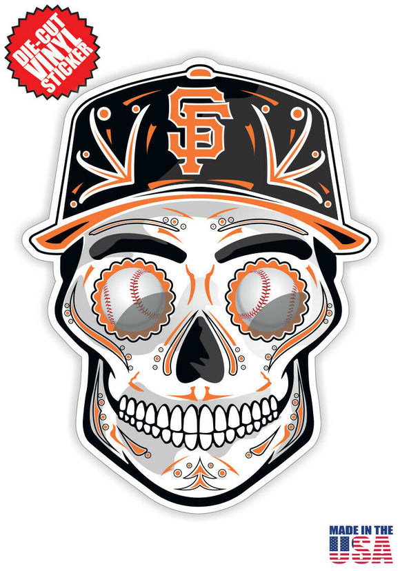 San Francisco Giants Baseball - Skull Hat Die Cut Vinyl Decal - 4 Sticker Combo