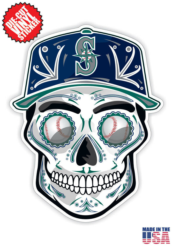 Seattle Mariners Baseball - Skull Hat Die Cut Vinyl Decal - 4 Sticker Combo Pack