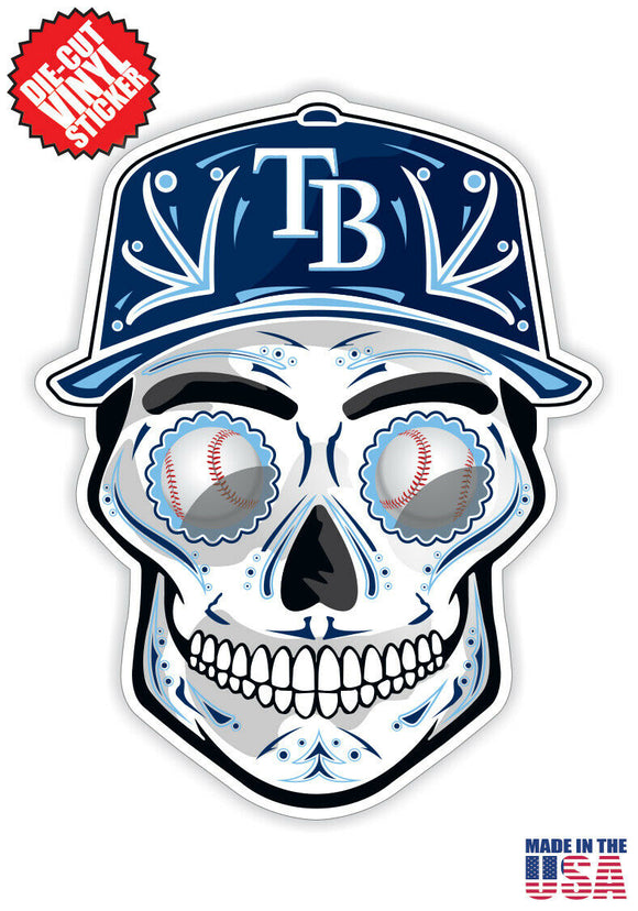 Tampa Bay Rays Baseball - Skull Hat Die Cut Vinyl Decal - 4 Sticker Combo Pack