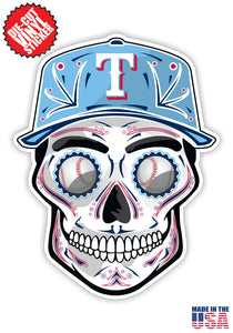 Texas Rangers Baseball - Skull Hat Die Cut Vinyl Decal - 4 Sticker Combo Pack