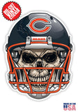 Chicago Bears Skull Football Skull Helmet Die Cut Vinyl Decal - 4 Sticker Combo