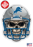 Detroit Lions Football Skull Helmet Die Cut Vinyl Decal - 4 Sticker Combo