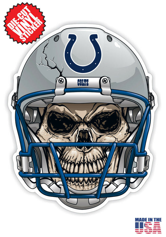 Indianapolis Colts Football Skull Helmet Die Cut Vinyl Decal - 4 Sticker Combo