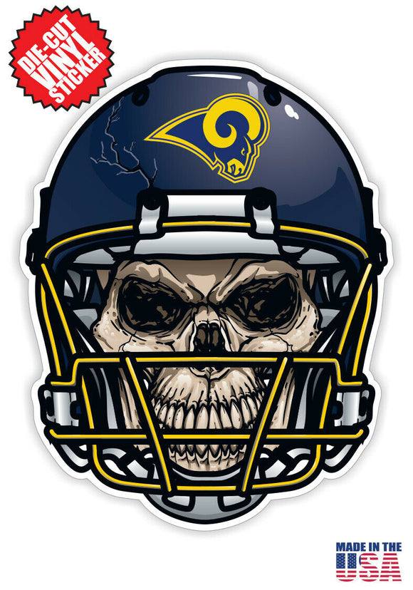 Los Angeles Rams Football Skull Helmet Die Cut Vinyl Decal - 4 Sticker Combo