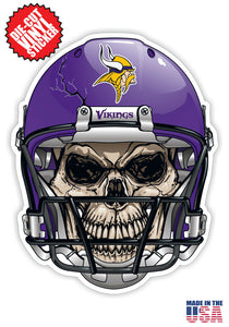 Minnesota Vikings Football Skull Helmet Die Cut Vinyl Decal - 4 Sticker Combo