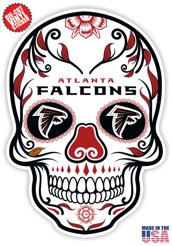 Atlanta Falcons Football Skull Die Cut Vinyl Decal - 4 Sticker Combo Pack