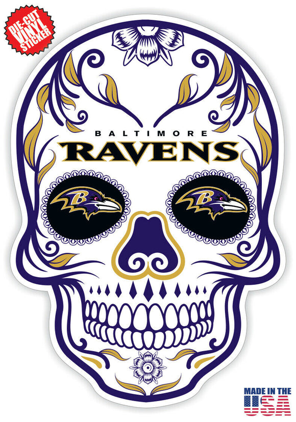 Baltimore Ravens Football Skull Die Cut Vinyl Decal - 4 Sticker Combo Pack