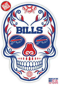 Buffalo Bills Football Skull Die Cut Vinyl Decal - 4 Sticker Combo Pack