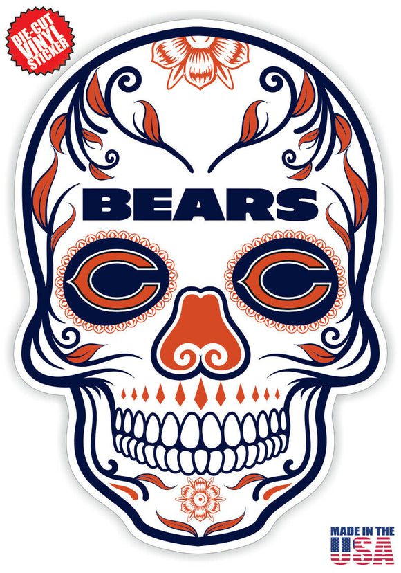 Chicago Bears Football Skull Die Cut Vinyl Decal - 4 Sticker Combo Pack
