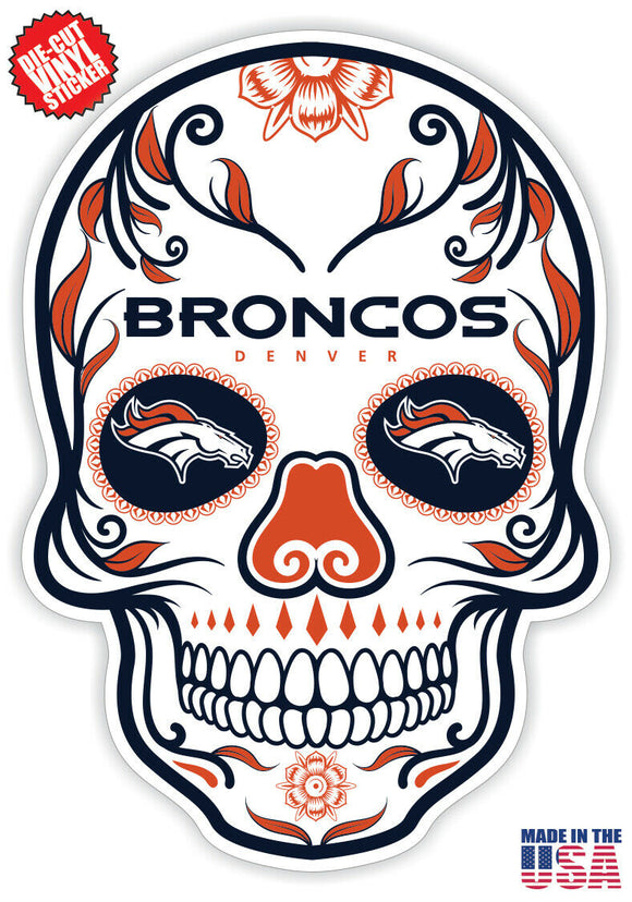 Denver Broncos Football Skull Die Cut Vinyl Decal - 4 Sticker Combo Pack