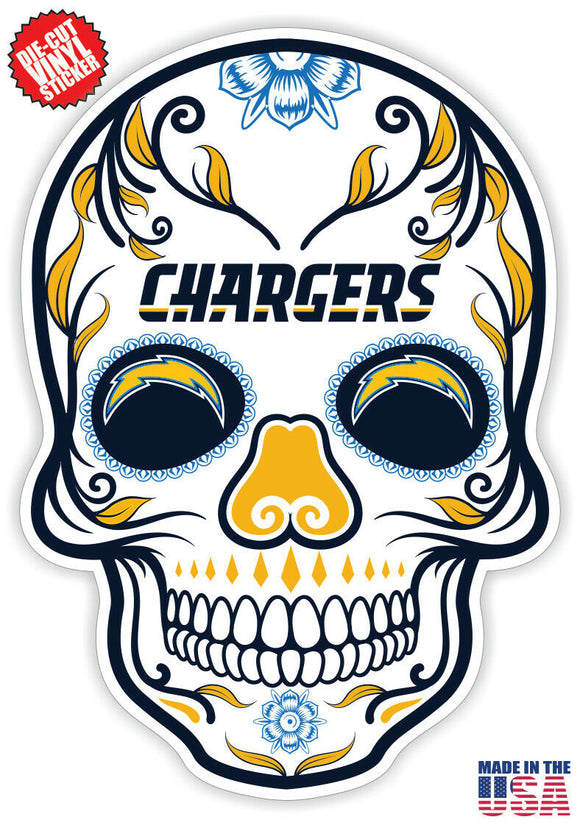 Los Angeles Chargers Football Skull Die Cut Vinyl Decal - 4 Sticker Combo Pack