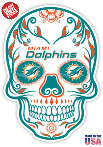 Miami Dolphins Football Skull Die Cut Vinyl Decal - 4 Sticker Combo Pack