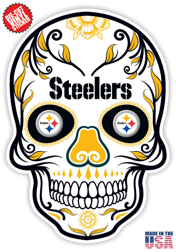 Pittsburgh Steelers Football Skull Die Cut Vinyl Decal - 4 Sticker Combo Pack