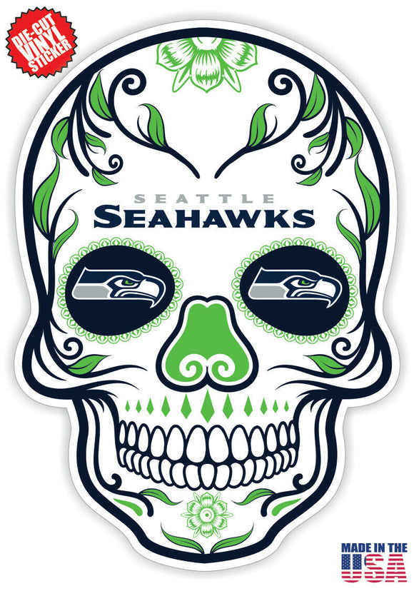 Seattle Seahawks Football Skull Die Cut Vinyl Decal - 4 Sticker Combo Pack