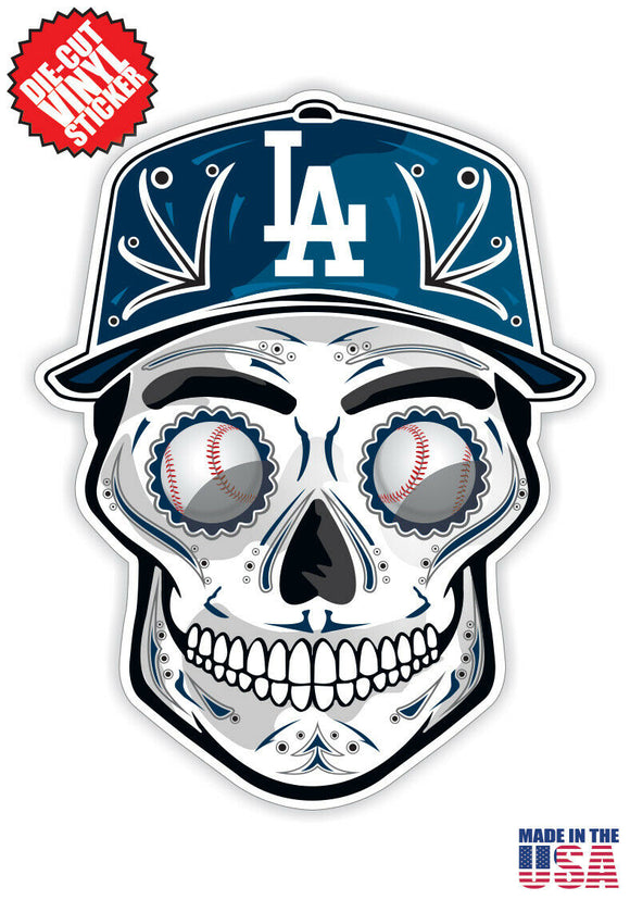 Los Angeles Dodgers Baseball - Skull Hat Die Cut Vinyl Decal - 4 Sticker Combo