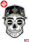 New Orleans Saints Football Skull Hat Die Cut Vinyl Decal - 4 Sticker Combo