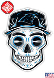 Carolina Panthers Football Skull Hat Die Cut Vinyl Decal - 4 Sticker Combo