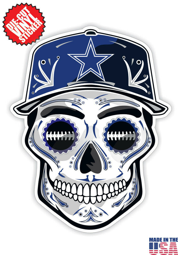 Dallas Cowboys Football Skull Hat Die Cut Vinyl Decal - 4 Sticker Combo